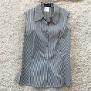 Piazza Sempione Charcoal Gray & White Fitted Top